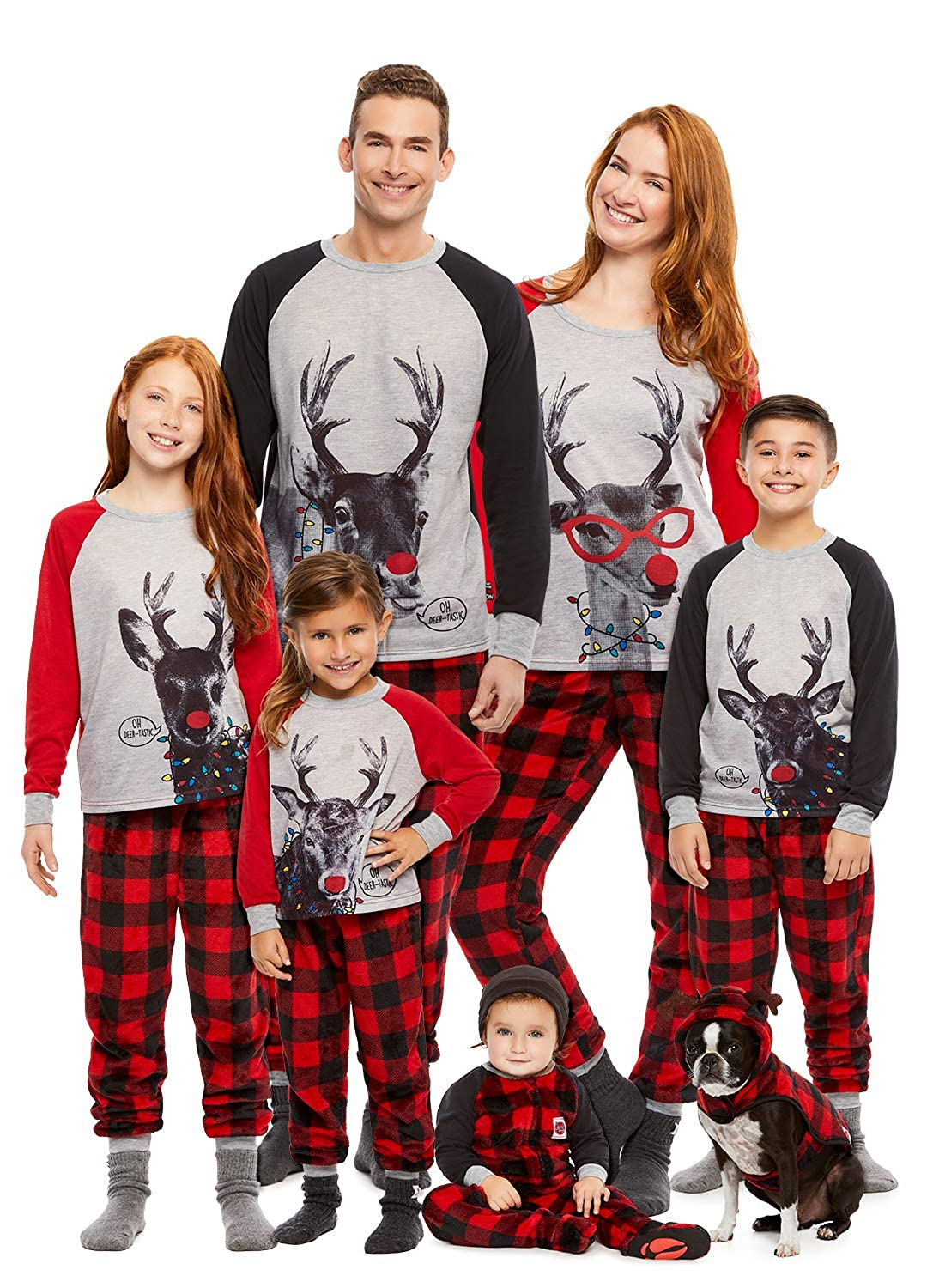 9d32a9f56561 Amazon.com  Family Holiday Oh Deer Matching Pajama Sets
