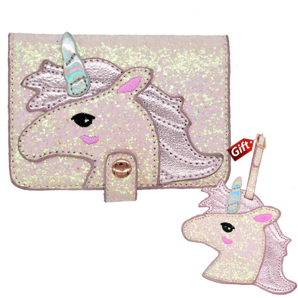 Unicorn Passport case and Luggage tag Gift US Pink Passport Cover for Girls Women RFID Blocking PU Leather Passport Holder Travel Passport Wallet Case