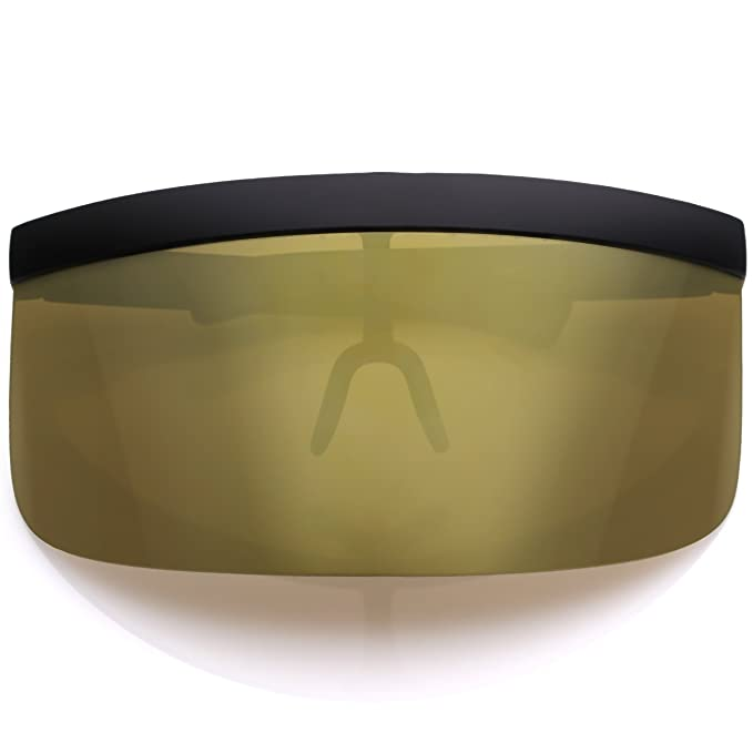e05610b2ef sunglassLA - Futuristic Oversize Shield Visor Sunglasses Flat Top Mirrored  Mono Lens 172mm (Gold Mirror