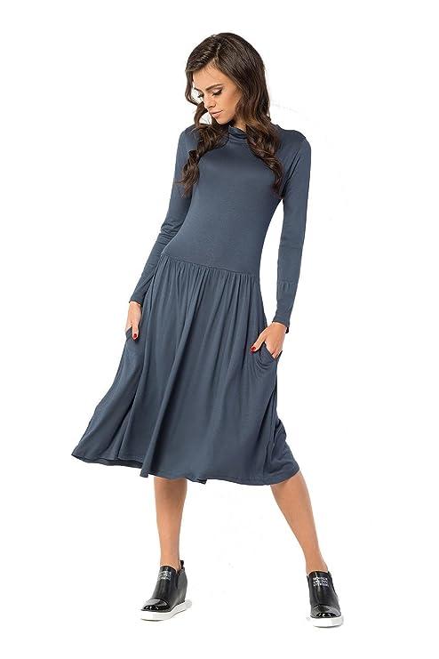 Kleid lang mit Taschen A-Line Top Rollkragen Gr. 36 38 40 42 44 46, B32   Amazon.de  Bekleidung 952c970d0a