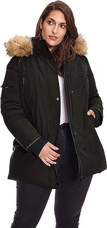 Alpine North Women/'s Plus Vegan Down Mid Length Parka Jacket with Faux Fur Hood