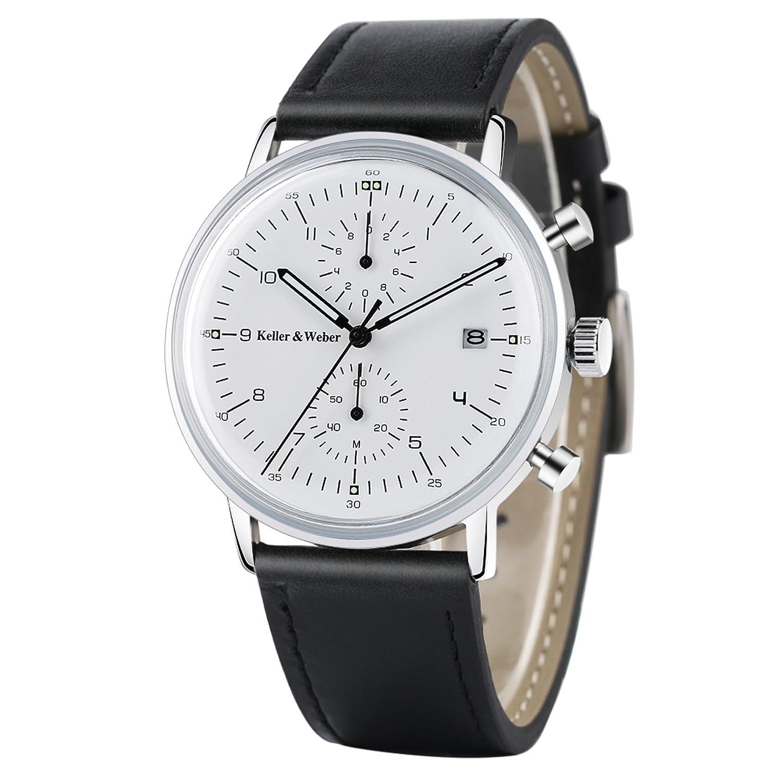 Amazon.com: Keller & Weber Quartz Men Watches Sports Chronograph Waterproof Genuine Leather Band Business Wristwatch: Watches