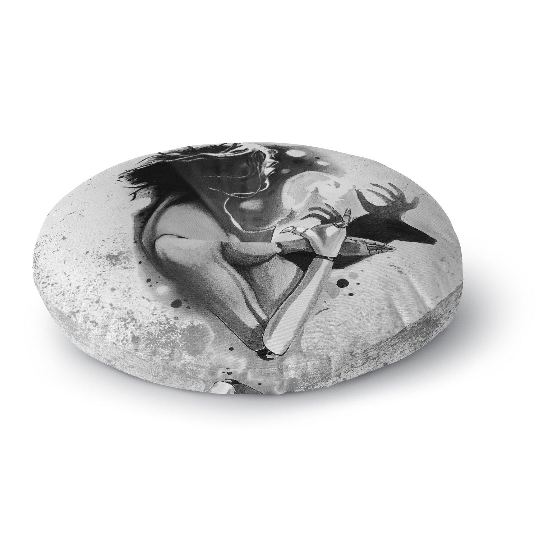 Kess InHouse Ivan Joh Shadow Play Black White Painting Round Floor Pillow 26
