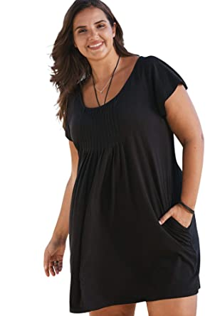 0380c118d5 Swimsuits For All Women's Plus Size Box-Pleat Coverup with Pockets at  Amazon Women's Clothing store: