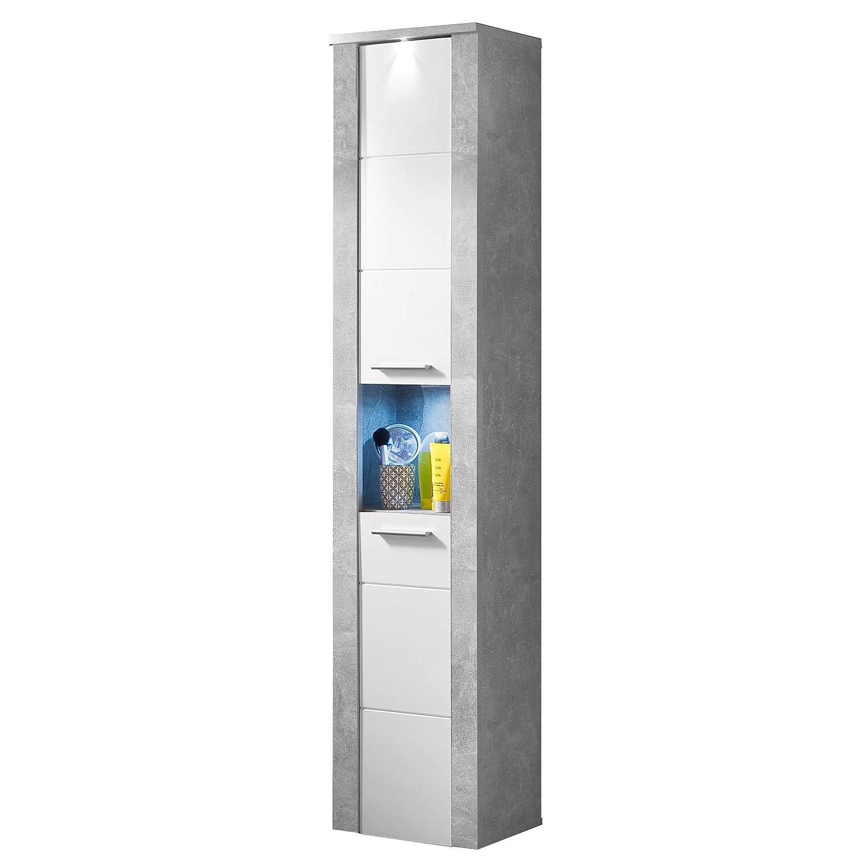 Trendteam smart living Badezimmer Hochschrank Schrank Power, 40 x 184 x 28 cm in Korpus Stone Melamin, Front Weiß Melamin mit offenen Fach und viel Stauraum