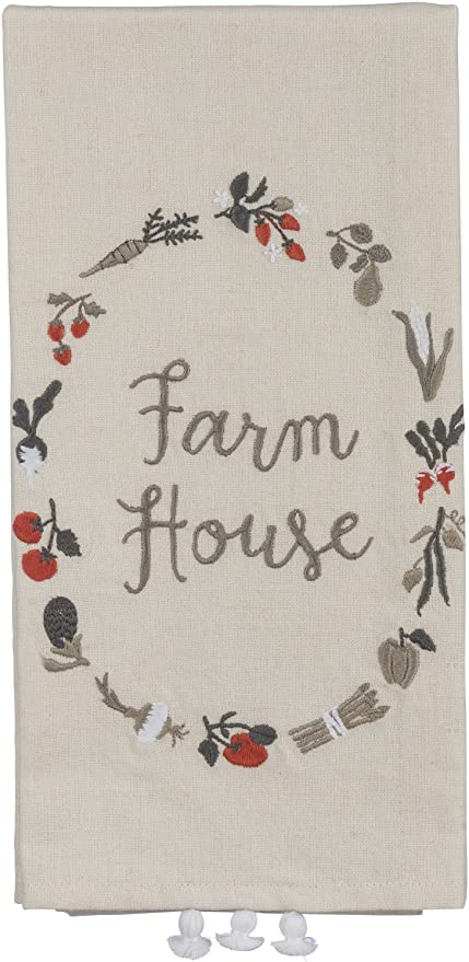 Embroidered dish towl Bless our Farmhouse