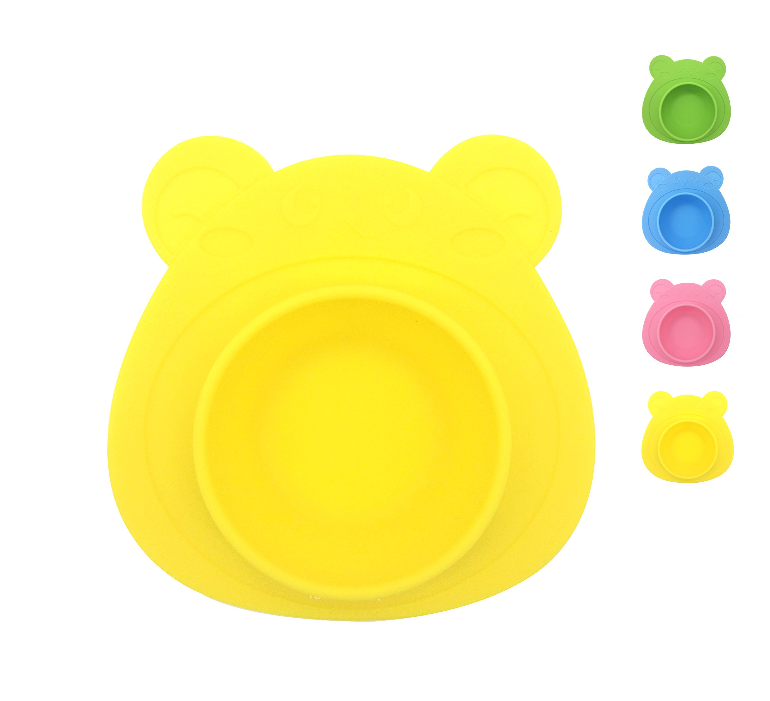 IoneStar One-Piece Mini Silicone Placemat Bowl Non-Toxic for Baby BPA Free, Bon-Slip Round Food Bowl with Suction for Kids Toddlers Childrens Dining,Reusable Collapsible Portable for Travel (Yellow)