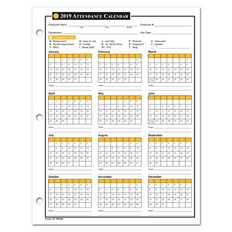 2020 Employee Attendance Calendar Pdf Amazon.: 2019 Attendance Calendar   50 Sheets/Package   On