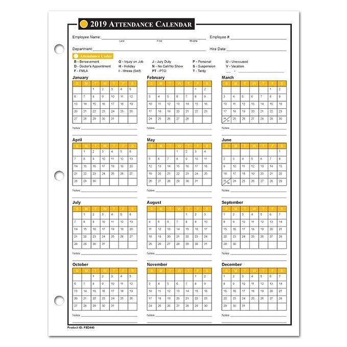 2019 Employee Calendar Amazon.: 2019 Attendance Calendar   50 Sheets/Package   On