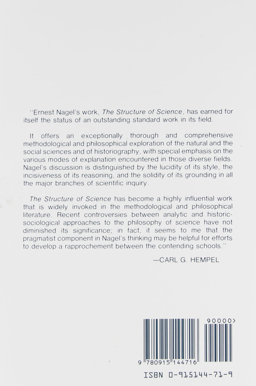The Structure of Science: Problems in the Logic of Scientific ...