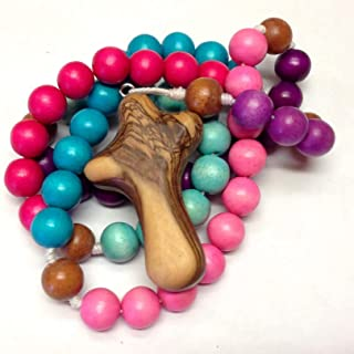 Wooden Rosary in Bold Pinks and Purples