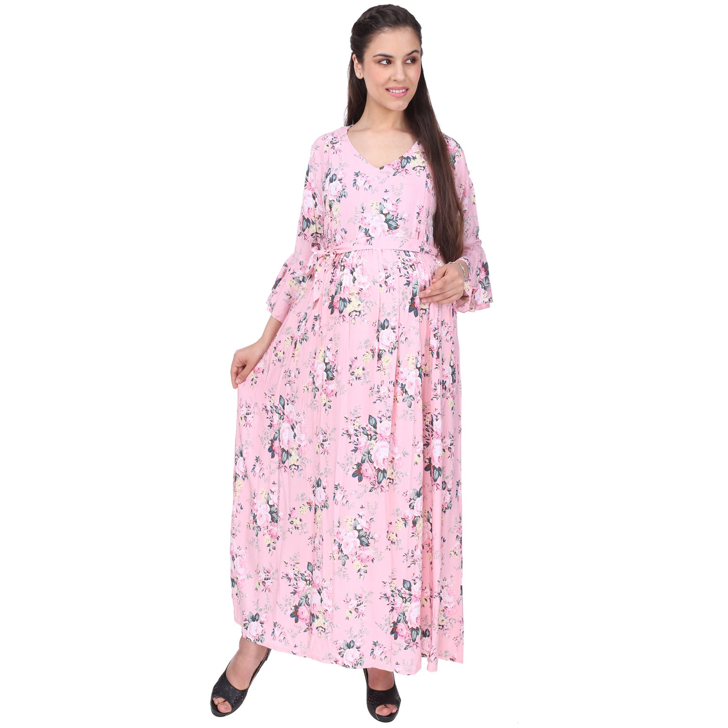 e6c6b76750784 VIXENWRAP Cute Pink Cotton Floral Print Maternity Dress (L_Pink):  Amazon.in: Clothing & Accessories