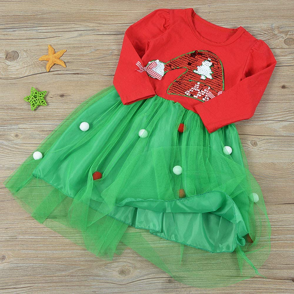 Cyhulu Newborn Infant Baby Girls Sequins Christmas Princess Party Dress Clothes