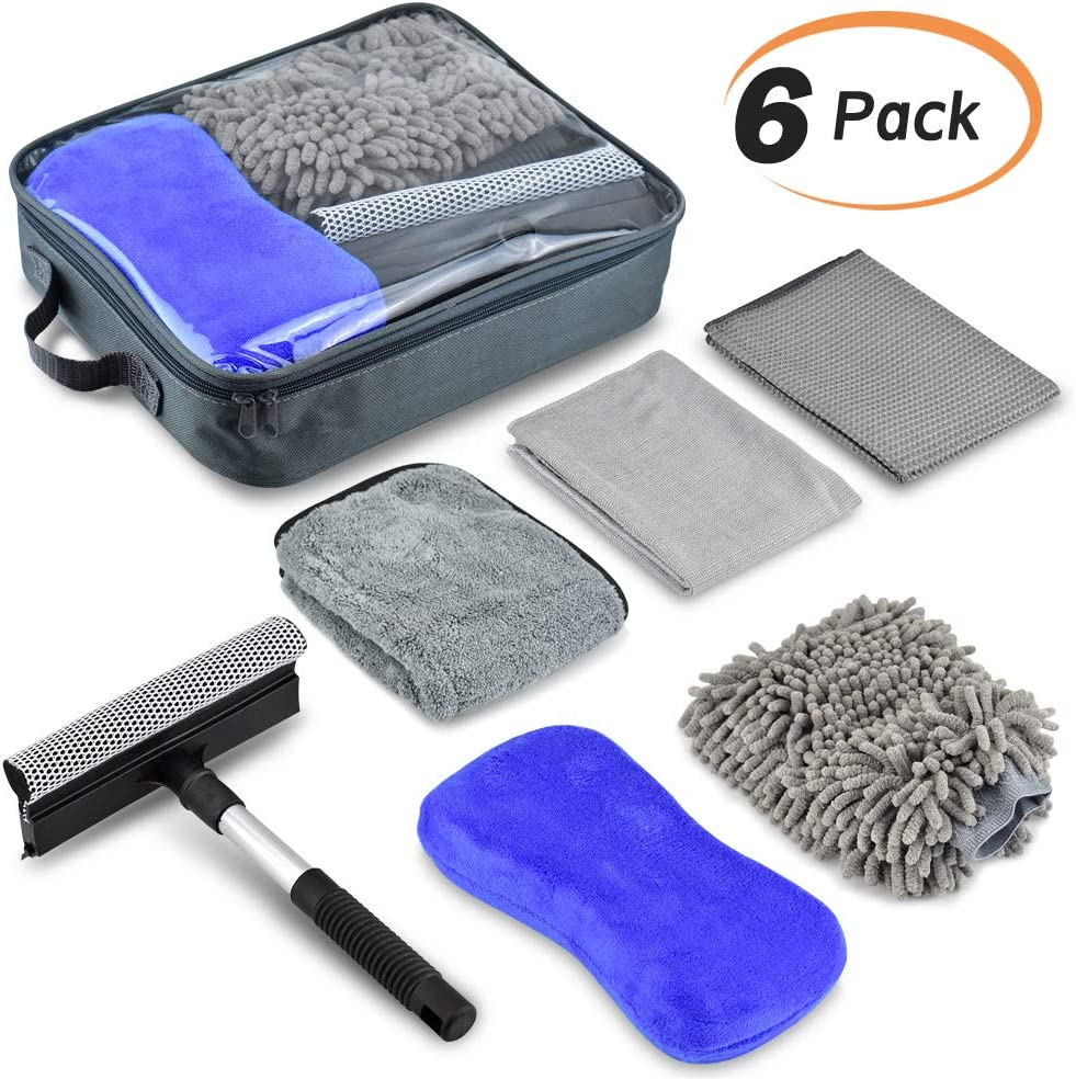 PACETAP Car Cleaning Tools Kit 6 PCS, Soft Microfiber Cloth Towels, Wash...