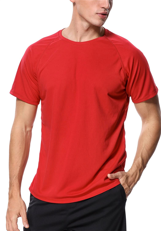 Maysoul Men's Rash Guard Short Sleeve Swim Shirts Loose Fit Surf Swimming Shirts