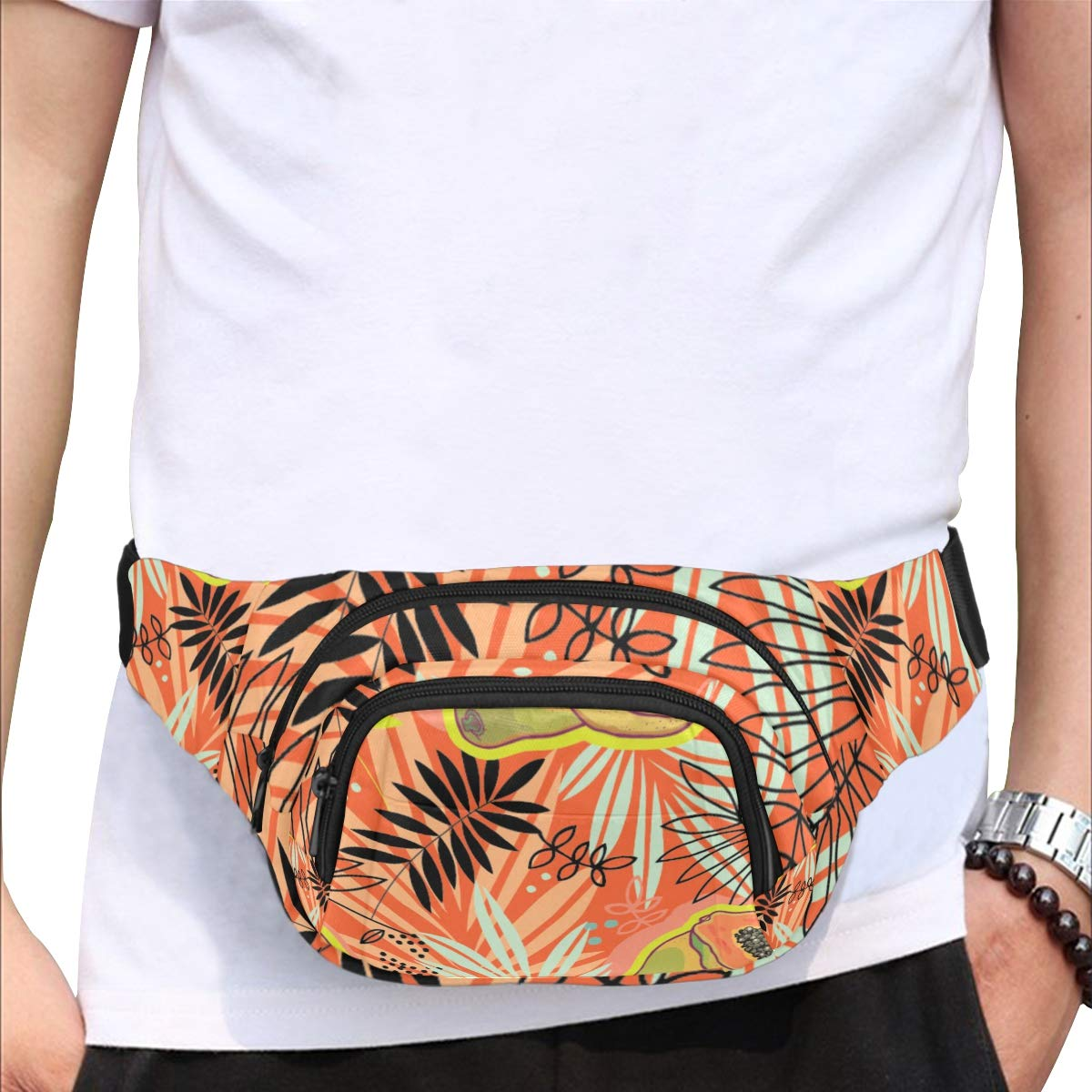 Tropical Plant Sketch Style Fenny Packs Waist Bags Adjustable Belt Waterproof Nylon Travel Running Sport Vacation Party For Men Women Boys Girls Kids