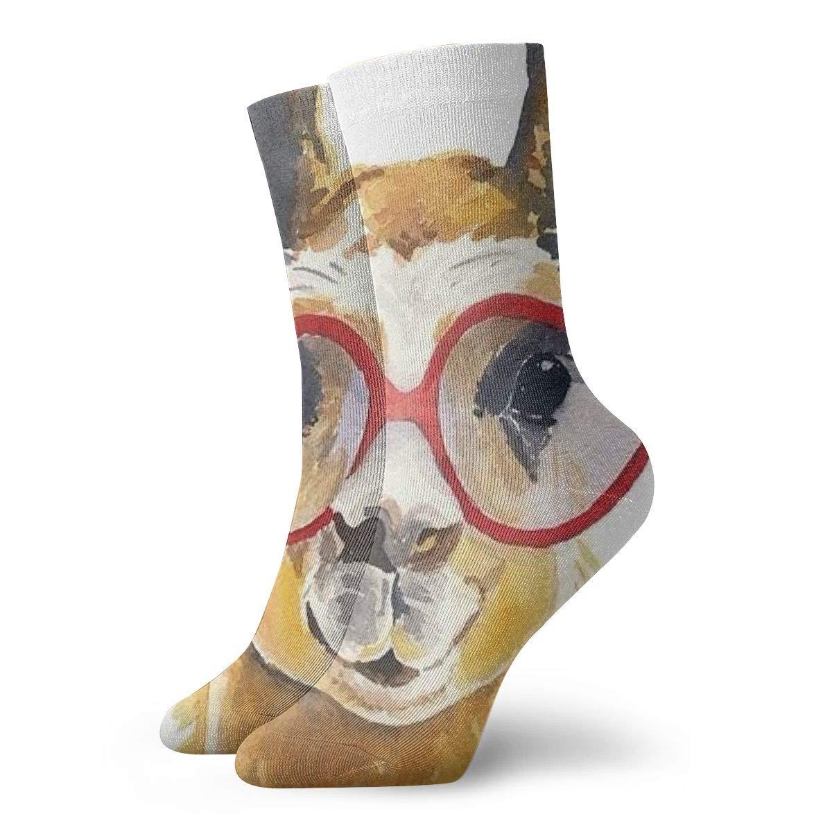 Unisex High Ankle Cushion Crew Socks Alpaca Painting Casual Sport Socks