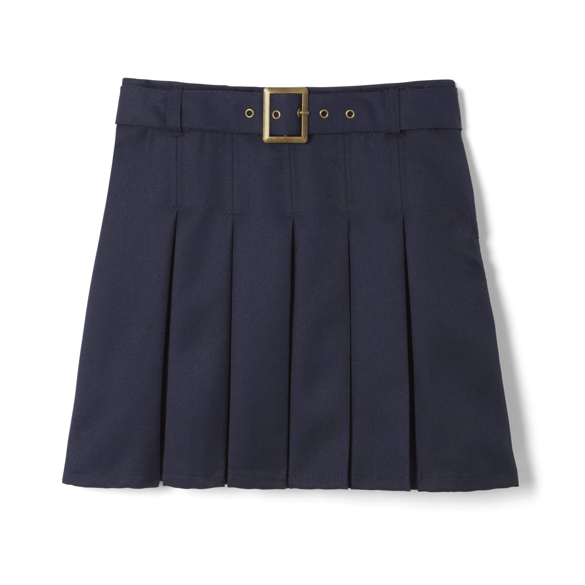 French Toast  Girls' Pleated Scooter With Square Buckle Belt, Navy, 5,Little Girls by French Toast