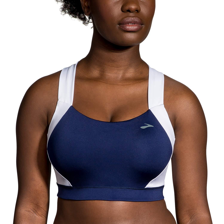 (193) WHITE NAVY LEA Brooks Women's Uphold Crossback Sports Bra