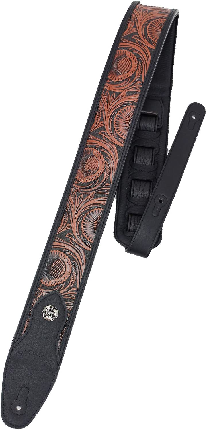 Walker /& Williams GN-25 Chestnut Brown /& Black Tooled Strap with Padded Glove Leather Back