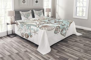 Ambesonne Nautical Bedspread, Hand Drawn Seashells Scallop Starfish Whelk Ocean Underwater Life Theme, Decorative Quilted 3 Piece Coverlet Set with 2 Pillow Shams, Queen Size, Brown Taupe