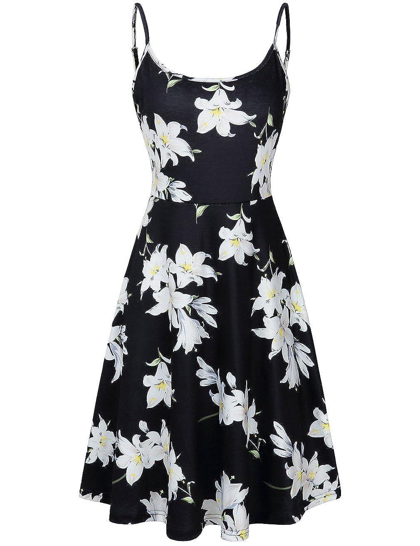 Moosungeek Womens Floral Print Beach Swing Dress Adjustable Strappy
