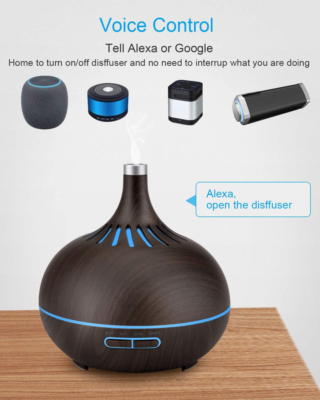 para Difusor de Aceites Esenciales Aromaterapia la 7 Luces LED/… Brilex Humidificador 400ml Ultras/ónico Inal/ámbrico Smart WiFi Aplicaci/ón de Control Funciona con Alexa y Google Home