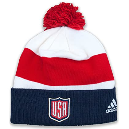 49ec1443149 adidas United States World Cup Of Hockey Winter Cuffed Knit Pom Hat