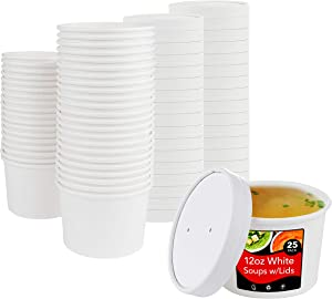 Stock Your Home 12oz White Soup Cups w Lids - 25 count