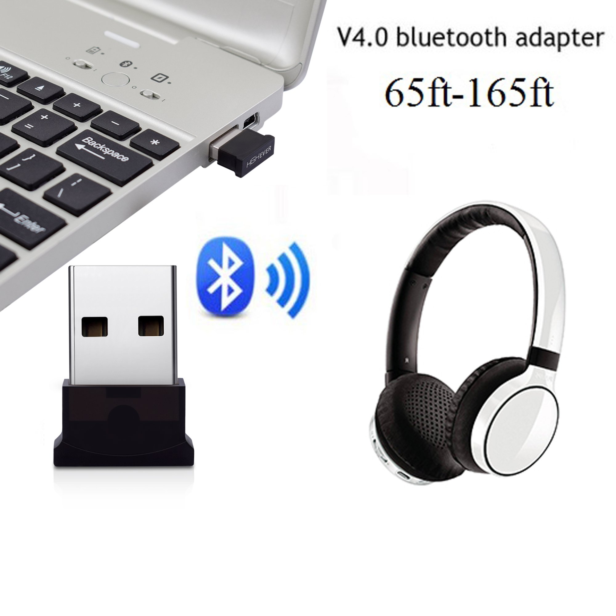 Bluetooth USB Adapter, 4.0 Bluetooth Low Energy 2.4Ghz Range Wireless USB Dongle Adapter for PC, Windows 10/8.1/8/7, Vista/XP by HIGHEVER (Image #2)