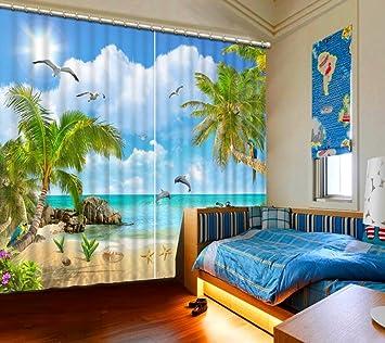 Chlwx Cool Beach Landschaft Vorhang Verdunkelung Modernes Wohnzimmer  Schlafzimmer Vorhänge Baum Fenster Vorhang 2 Stück 260cmx400cm