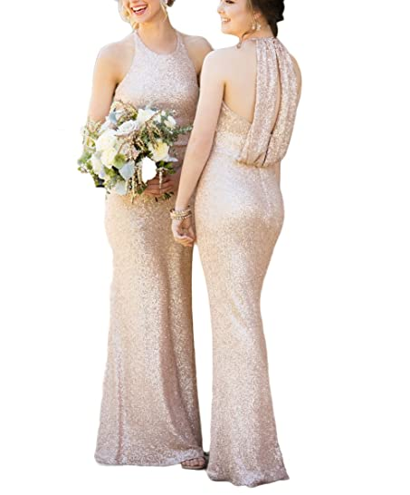 TulBridal Womens Rose Gold Sequins Mermaid Bridesmaid Dresses Backless Prom Gowns