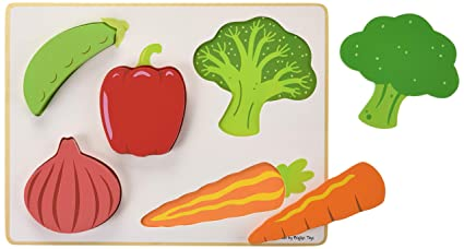 Bigjigs Toys Wooden Chunky Lift And See Puzzle-Vegetables