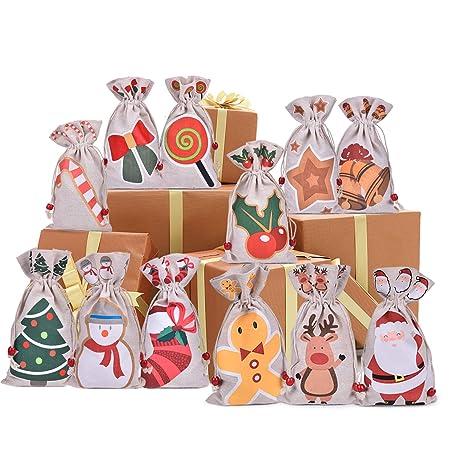Amazon.com: Paquete de 12 bolsas de regalo de Navidad para ...