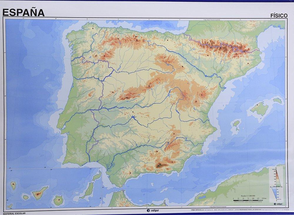 España, físico / político. A todo color: Mapas Murales Mudos ...