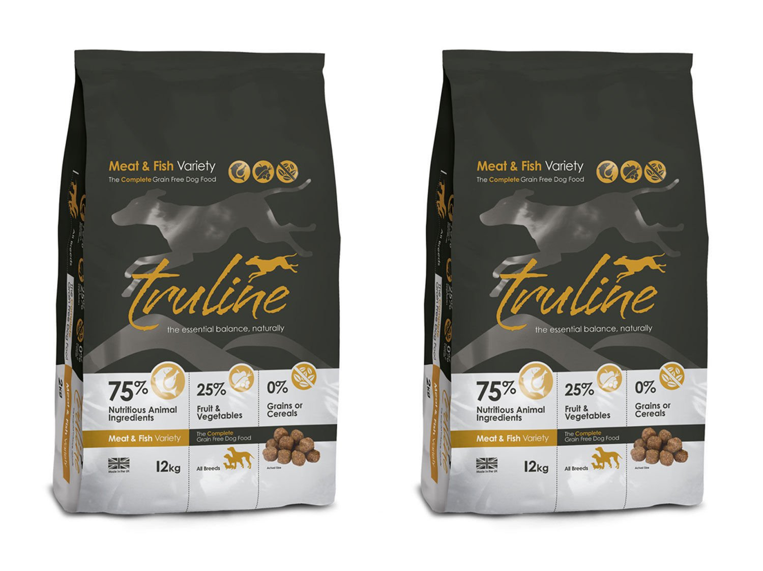 2 x 12kg Truline Meat and Fish Variety Dry Dog Food 2 x 12kg