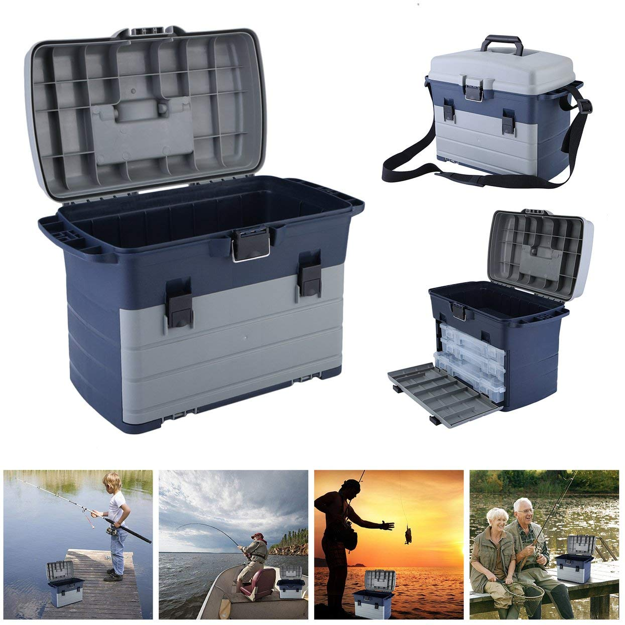 Heavy Duty Fishing Tackle Box 3 Layers Removable Trays Storage Organizer Case Tool Fishing Accessories Lures Bait Storage Box by ToGames (Image #2)