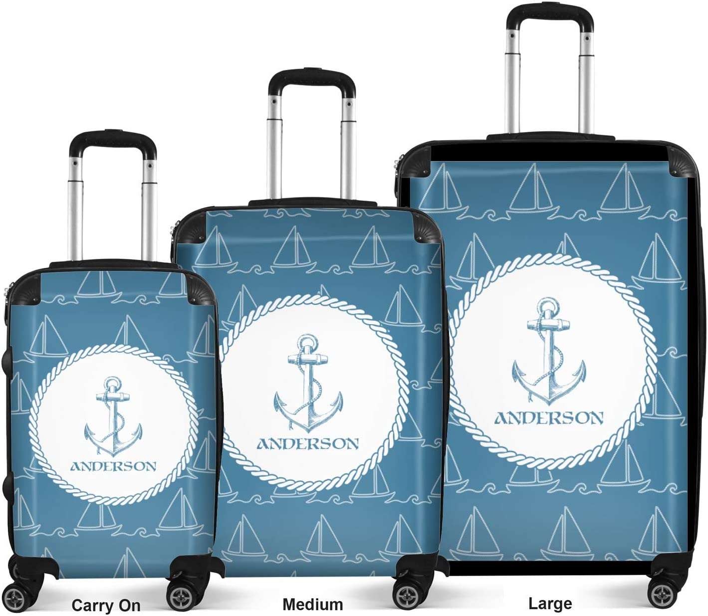 Personalized Rope Sail Boats Suitcase 20 Carry On
