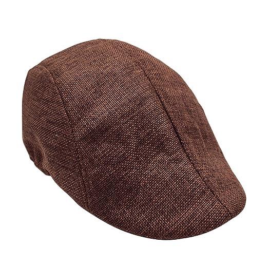 TINKSKY Mens Womens Flax Beret Cap newsboy Flax Sunscreen Hat Cabbie ... 7bb60f2c4d