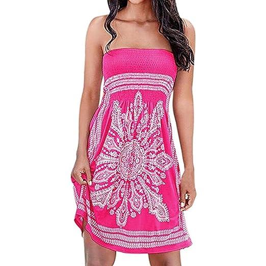 CreazyDog® Women Strapless Floral Bohemian Casual Mini Beach Dress  Cover-ups Dress (Hot 80c3d0583