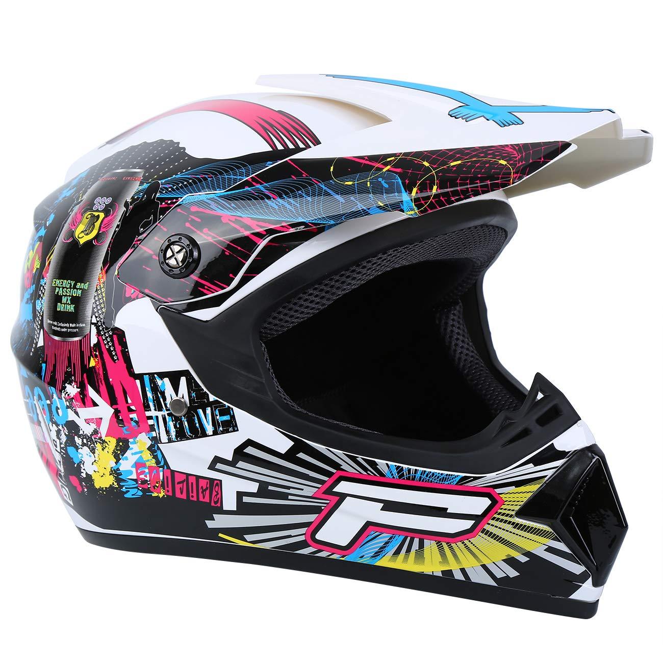 Amarillo, XL Samger DOT Adulto Offroad Casco Motocross Casco Dirt Bike ATV Motocicleta Casco Guantes Gafas