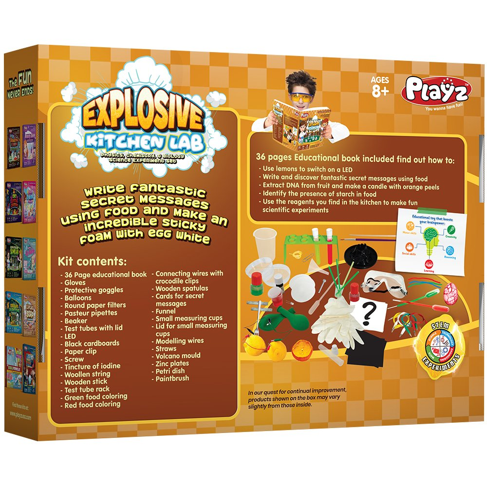 Playz Explosive Kitchen Lab 26 Physics Chemistry They Poked Brads Through A Piece Of Cardboard Paperclip Biology Science Experiments Set Make Salt Pepper Electricity Sour Led Lights