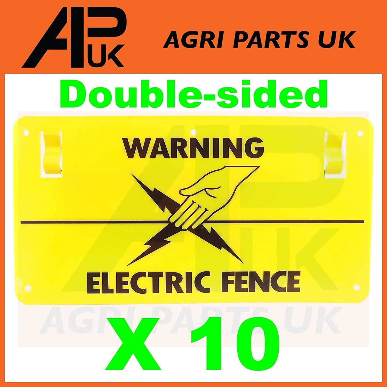 APUK 10x Electric Fence Warning Plastic Sign Double Sided Poly Wire tape Screw Fixing Agri Parts UK Ltd