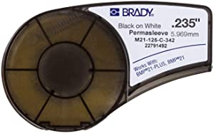 "Brady Official (M21-125-C-342) PermaSleeve Heat-Shrink Polyolefin Wire Marking Sleeves, Black on White - Designed for BMP21 and BMP21-PLUS Label Printers - 7' Length, 0.235"" Width"
