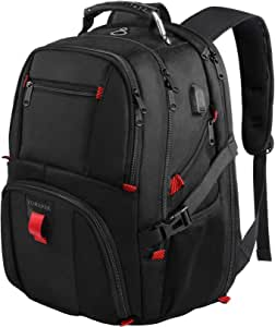 YOREPEK Backpacks for Men,Extra Large Travel Backpack with USB Charging Port,TSA Friendly Business College Bookbags Fit 17 Inch Laptops 45L,Black