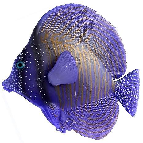 sourcing map Pecera acuario de peces artificiales flotantes de silicona Jardinería Ornamental púrpura