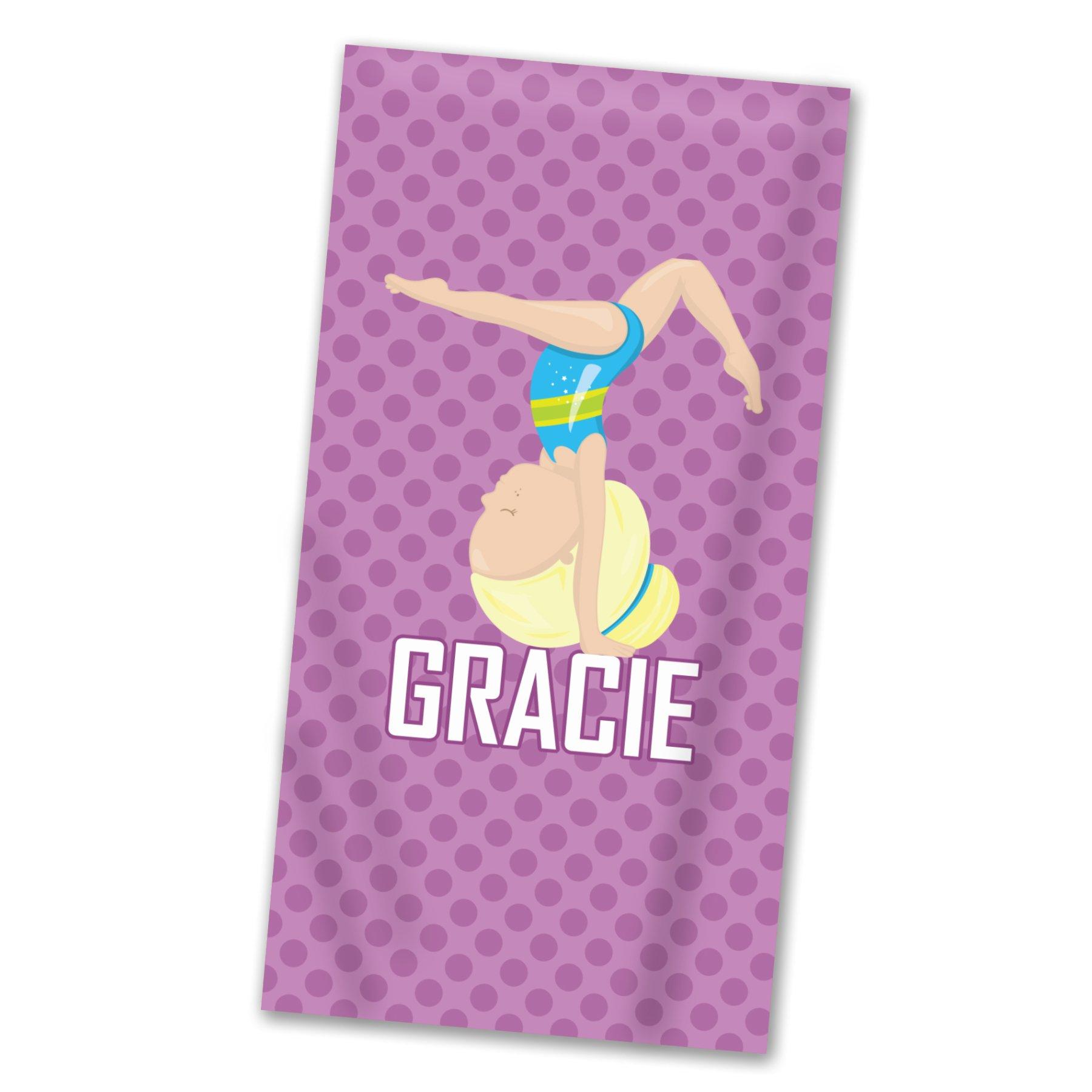 Gymnastic Beach Towel - Purple Girl Gymnast Pool Personalized Name Light Weight Towel