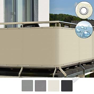 Sol Royal SolVision Brise Vue pour Balcon PB2 PES en Polyester 300x90 cm  Creme avec Oeillets et Cordons
