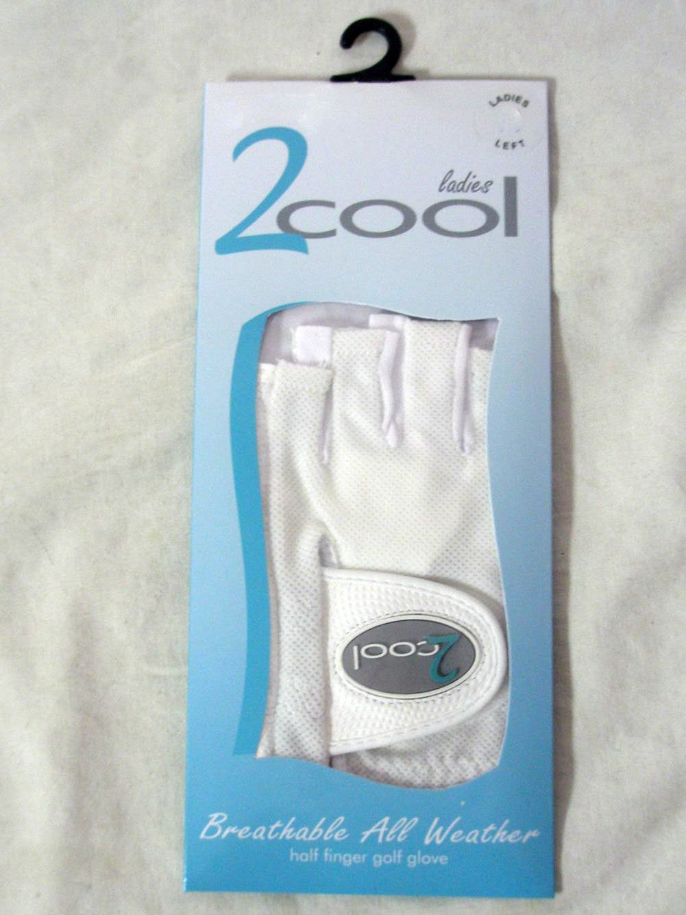 Quality Sports 2 Cool Half Finger Golf Glove White, Left, Large, Ladies