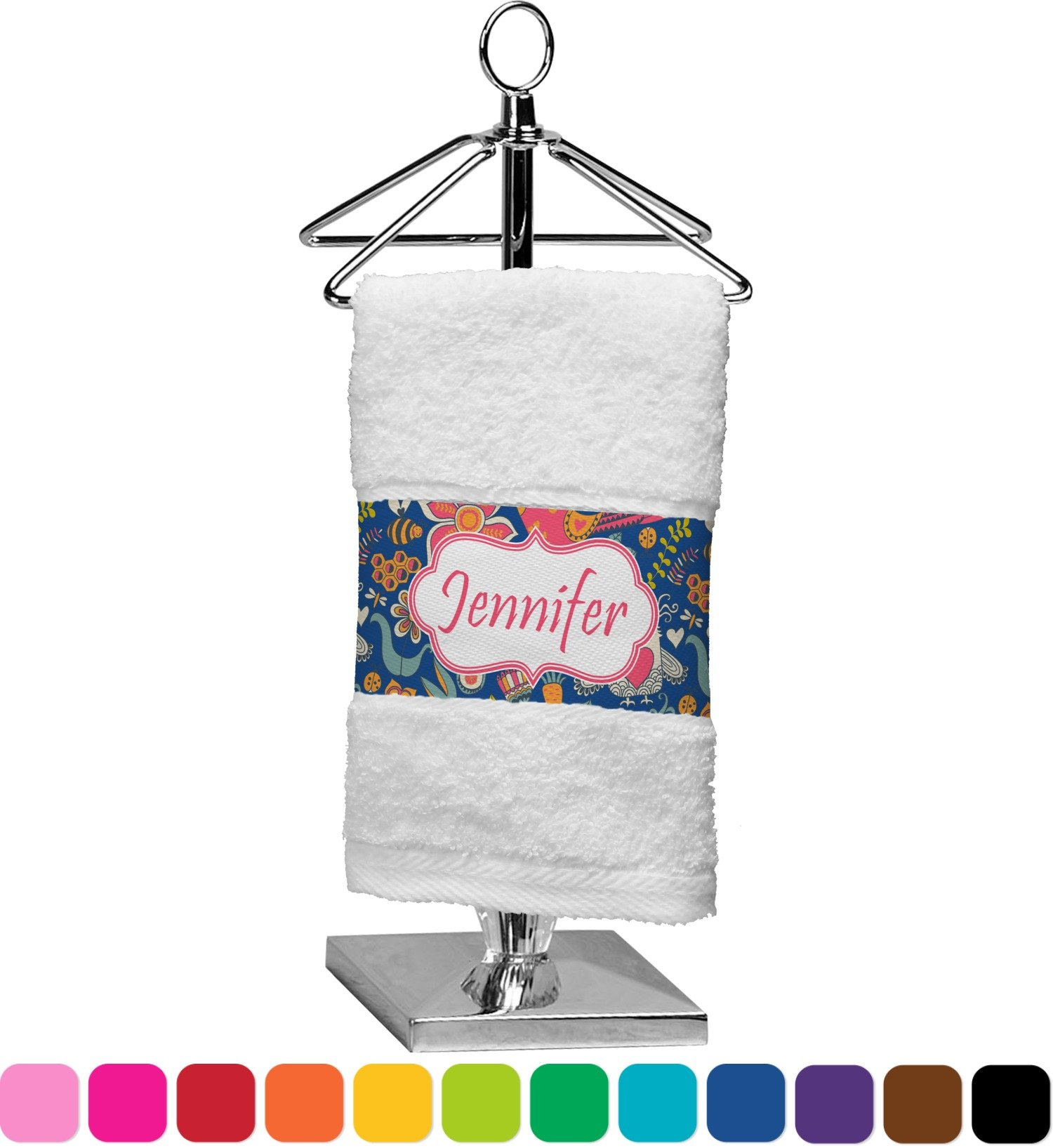 RNK Shops Owl & Hedgehog Finger Tip Towel (Personalized)